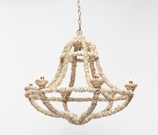 Gloria chandelier, wrapped in natural fibers, from Made Goods