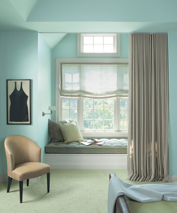"Room featuring the PPG color palette ""Spa Therapy"""