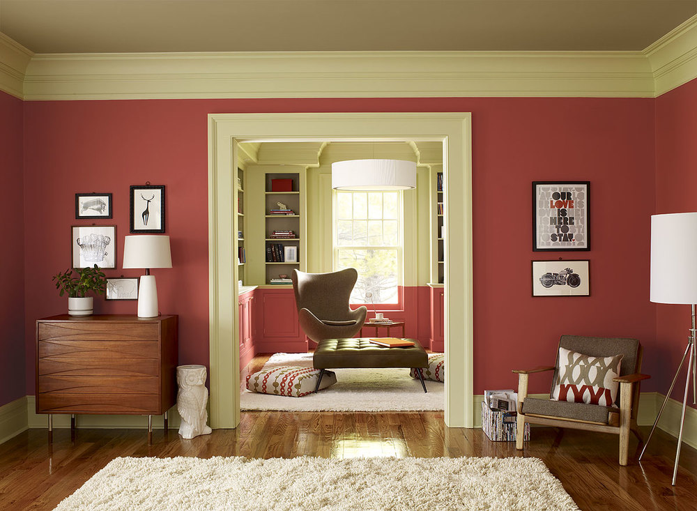 Red Parrot walls in this living room from Benjamin Moore
