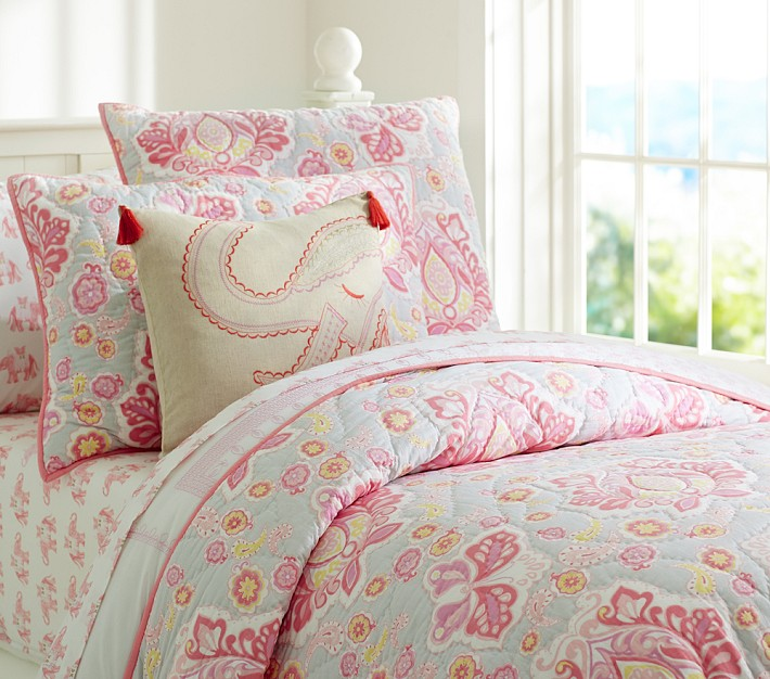 Coral Elephant sham and Elyse Quilted Bedding from Pottery Barn Kids