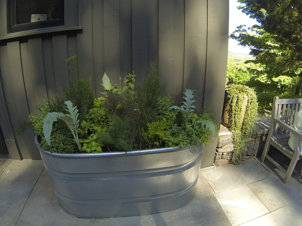 A clever metal tub contains handy herbs and salad veggies for convenient harvesting outside the kitchen door.