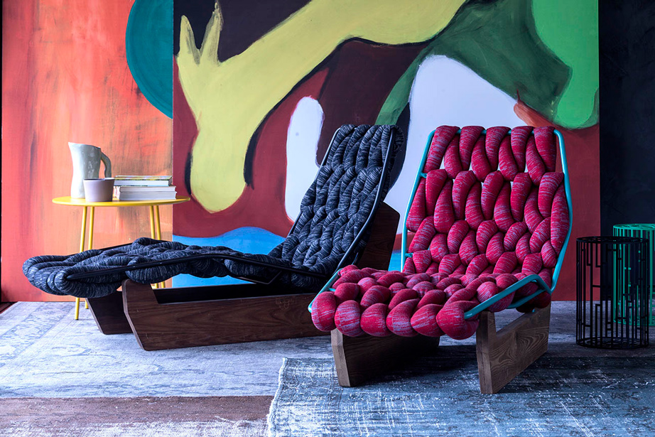 Patricia Urquiola's Biknit Chaise Longue for Moroso - cable-knit loops create comfort and incredible style.