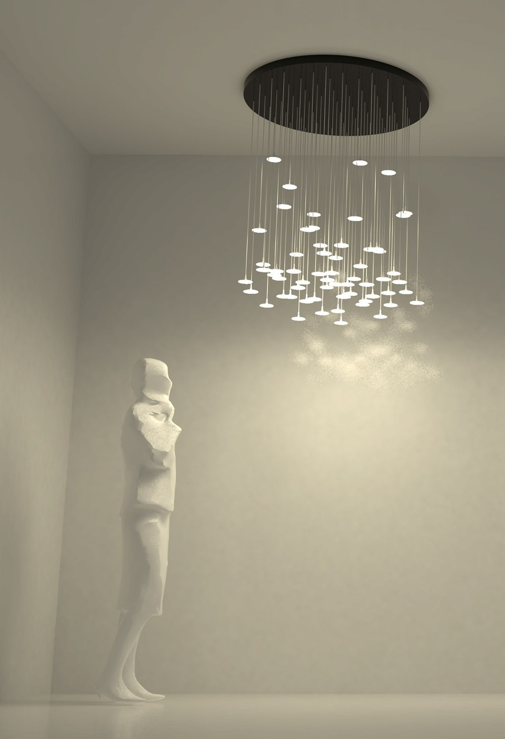 My client purchased a Rain 61 suspended lighting system for a stairwell in his California home.