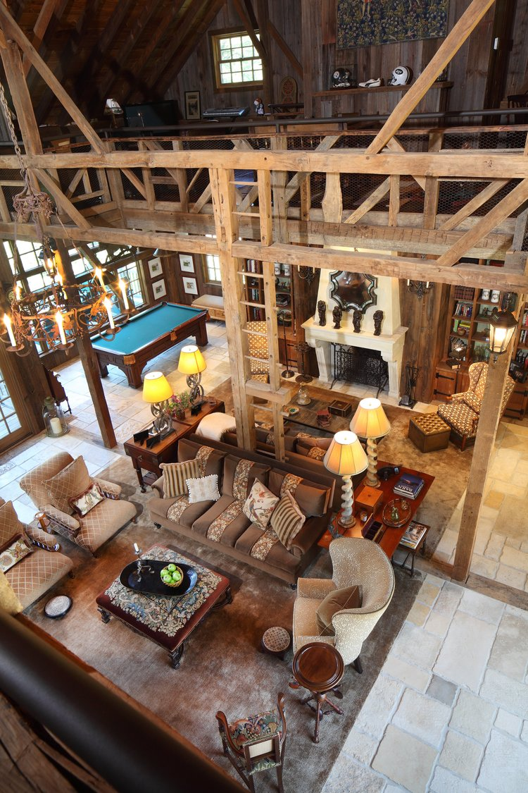 IWI_PA-Barn_living_room_pool_table_fireplace_aerial_view_from_loft_bare_wood.jpg