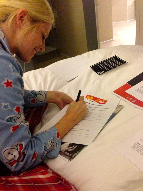 Jenn Signing The Dotted Lines for Her New Job in Her PJ's