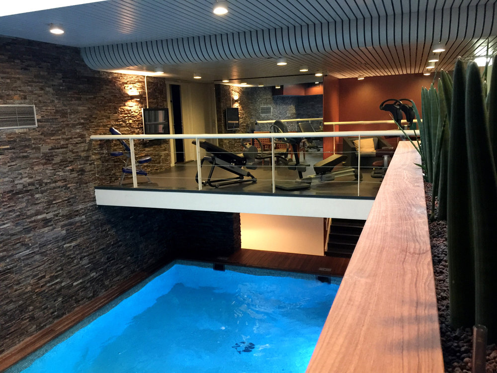 A pretty incredible gym/indoor pool at our hotel, Art'otel Amsterdam