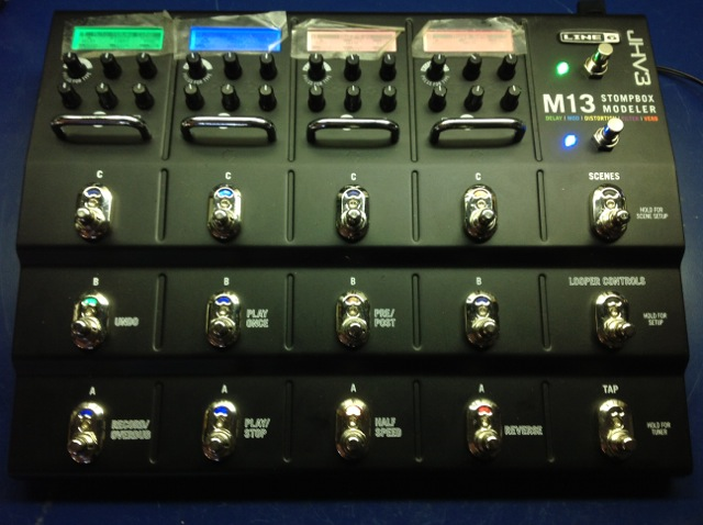 Showing Audio Upgrade (Output Control located on back face just behind LINE6 badge) two latching expression switches with total switch upgrade.