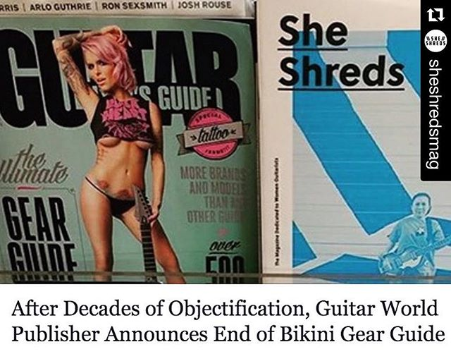 #Repost @sheshredsmag with @repostapp. ・・・ While so many of us have stories of discouragement and alienation revolved around Guitar World's bikini gear guide, today we take a big step towards ending sexism and objectification in the music industry—but it's only the beginning. Read our thoughts (link in bio!). Has sexist imagery and marketing affected you as a musician? What does this progress mean to you? #sheshreds #sheshredsmag #weplaytoo #movement #progress #change #sexism #geartalk