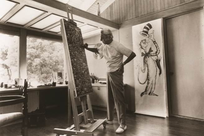 "Ted ""Dr. Seuss"" Geisel in his studio"
