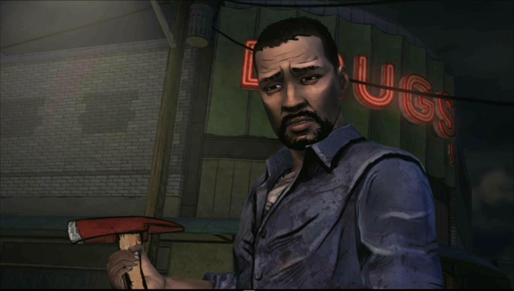 Lee, the conflicted player-controlled character from The Walking Dead