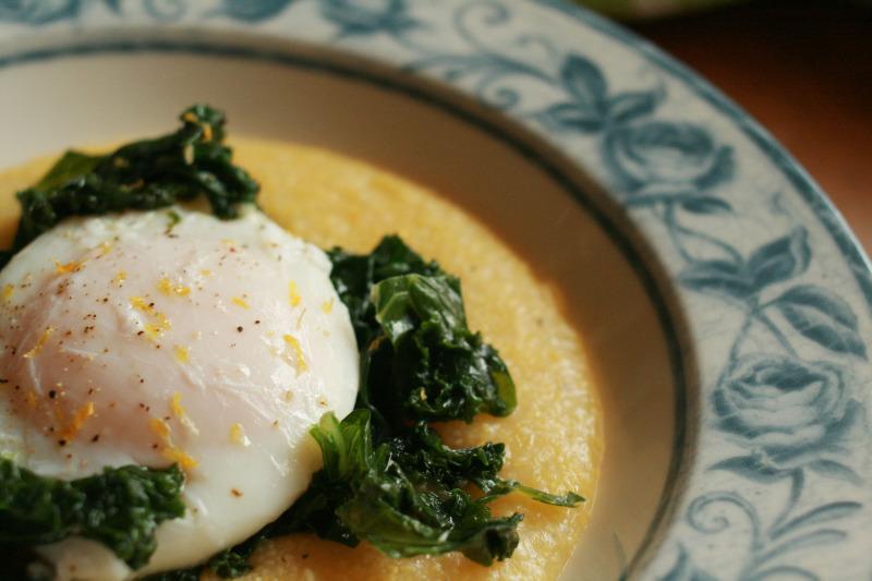 Poached Egg Over Lemony Kale and Polenta