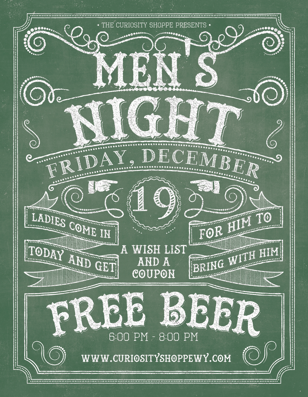 Curiosity Shoppe Men's Night Advertisement