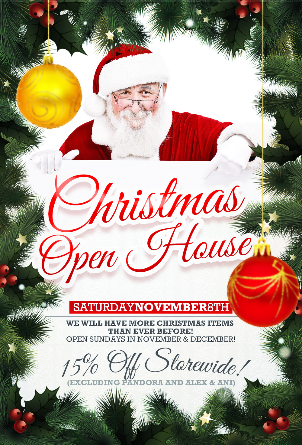 Curiosity Shoppe Christmas Open House Poster