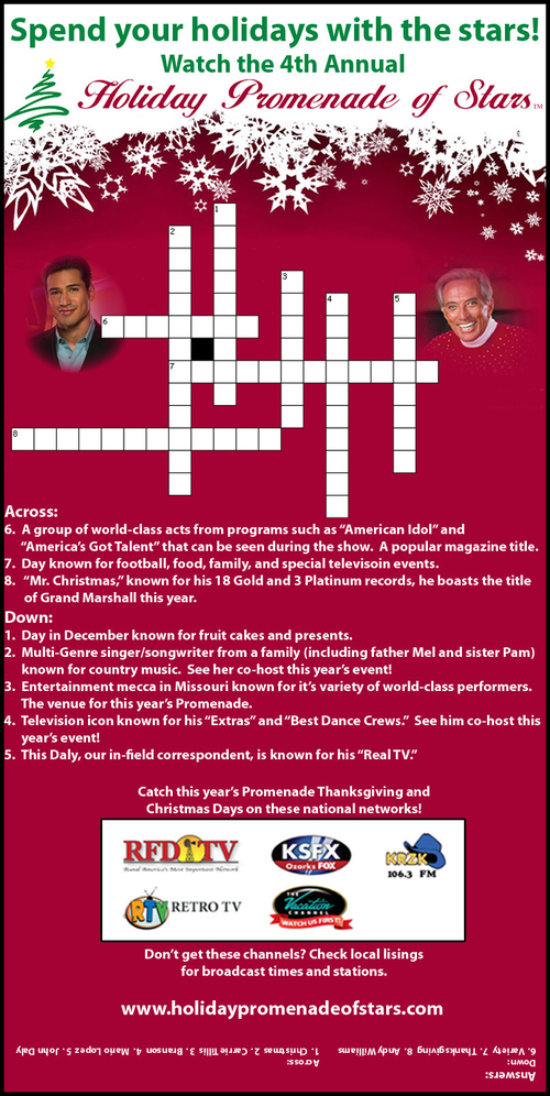 Holiday Promenade of Stars Crossword Advertisement