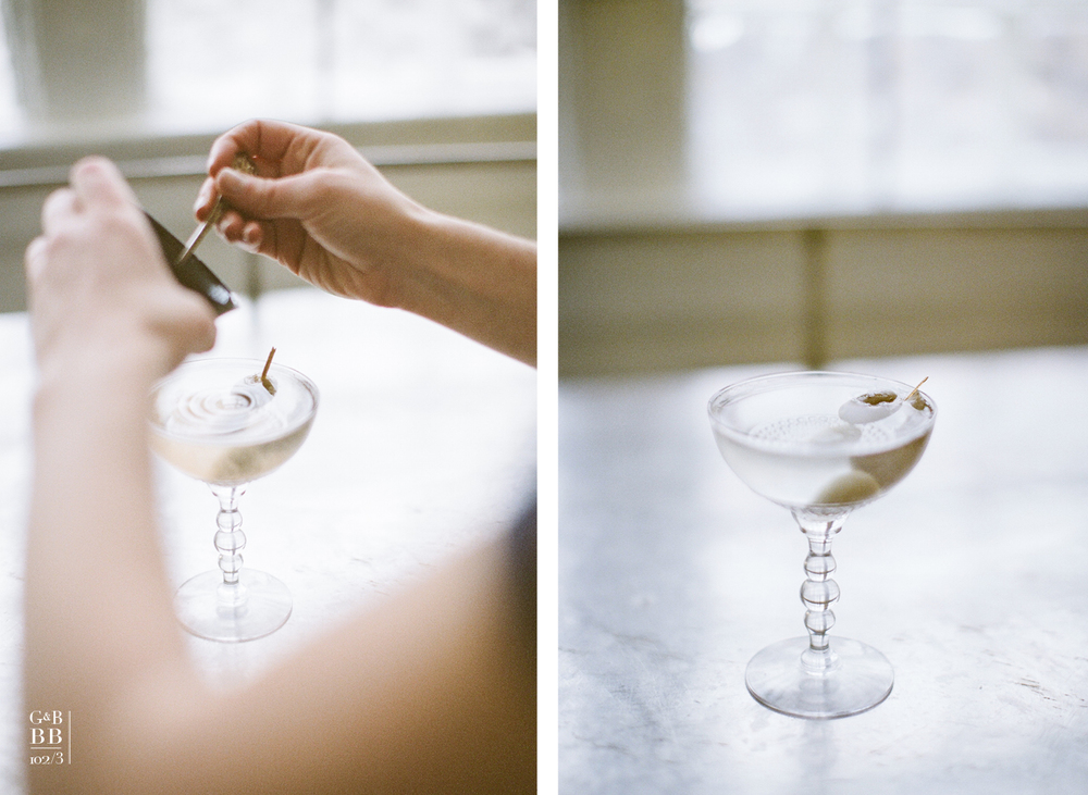 classic cocktail : martini , dirty with olive brine