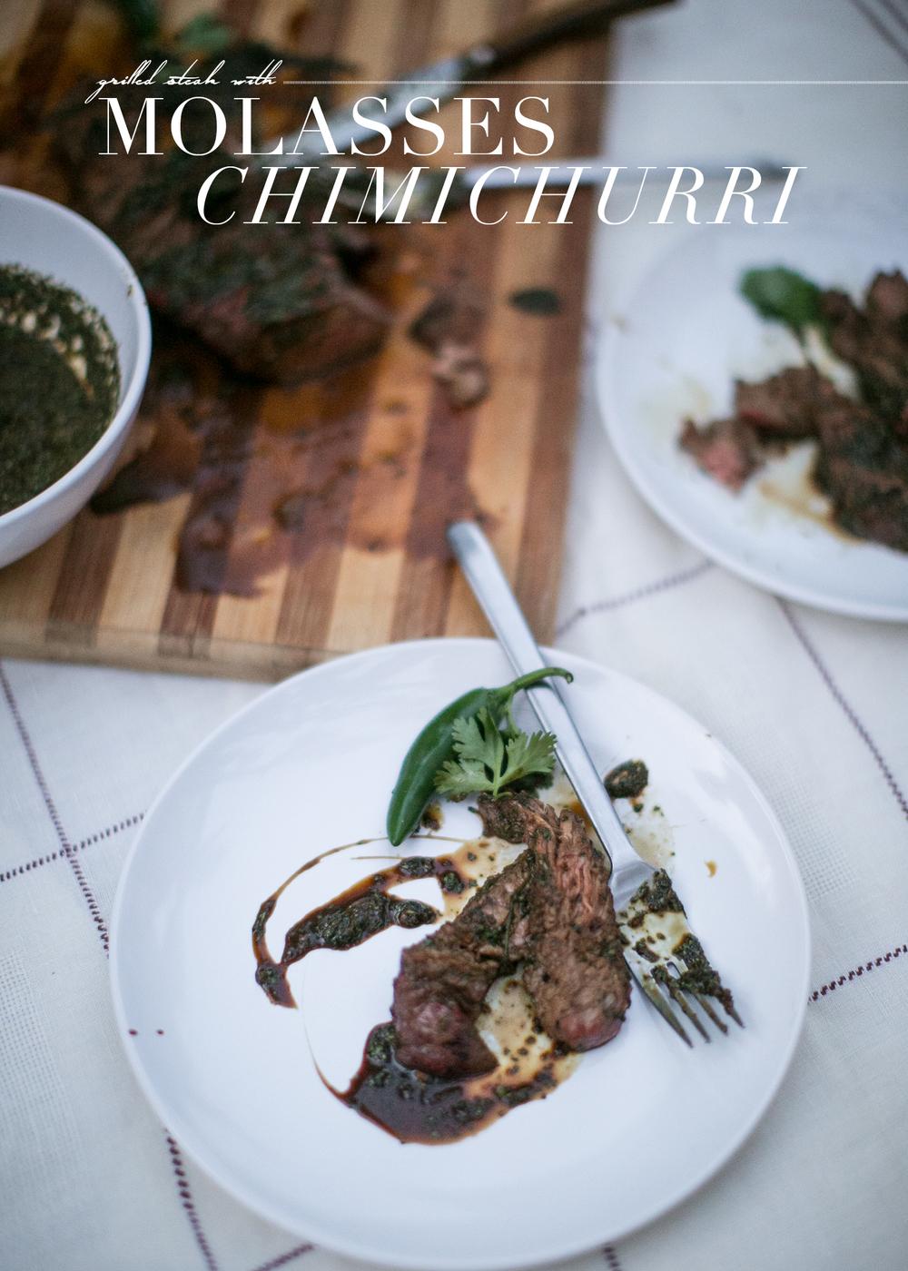 molasses chimicurri with steak
