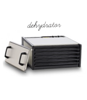 The Excalibur dehydrator is a must-have when creating gourmet raw food. Instead of cooking your food at high temps it slowly removes moisture {think dried mango} and you can do so many great things with this machine.  Giving  you the comfort of cooked food w/o destroying all the enzymes and essential nutrients. CLICK HERE to BUY NOW