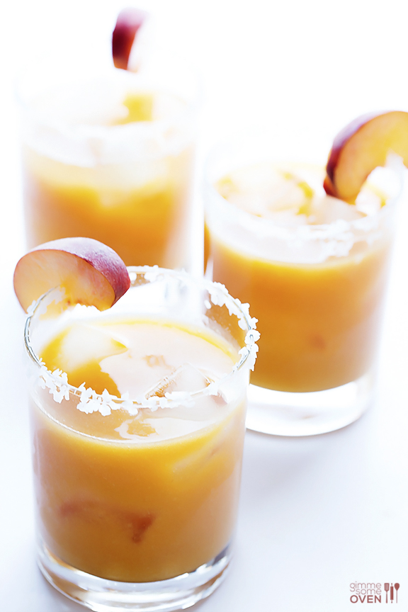 Fresh Peach Margs // via Gimme Some Oven