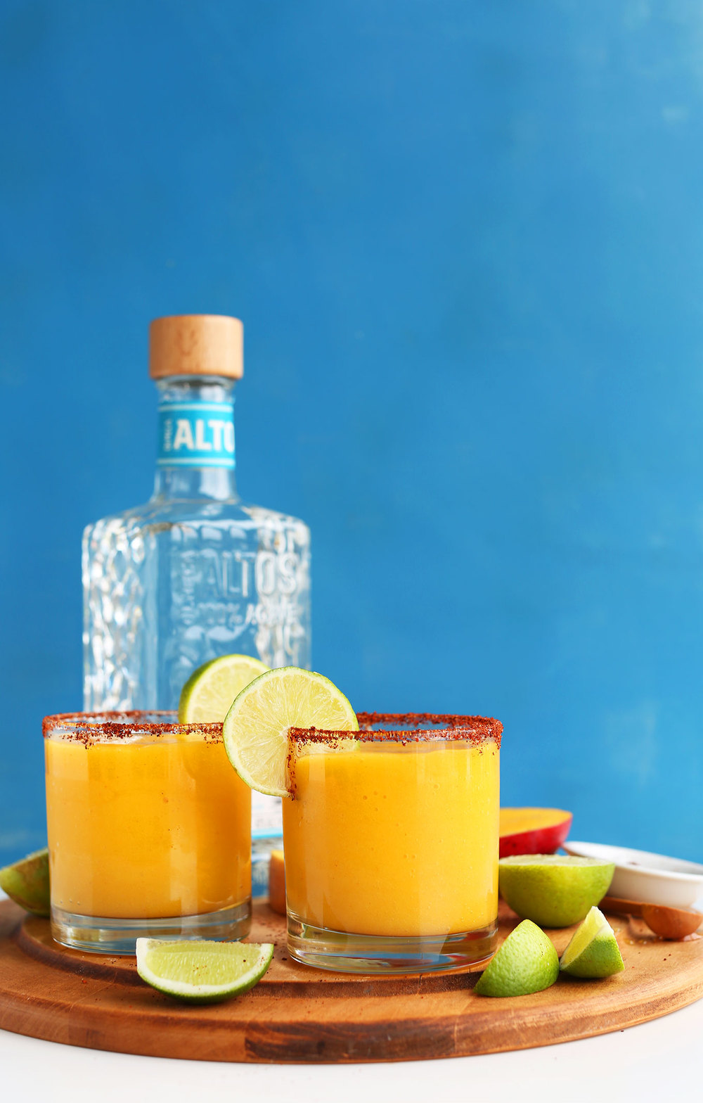 Sweet + Spicy Mango Chili Lime Margs // via Minimalist Baker
