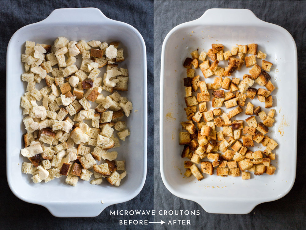 gluten-free microwave crouton recipe | crispy crunchy and just perfect | #puremamas #vegan #glutenfree