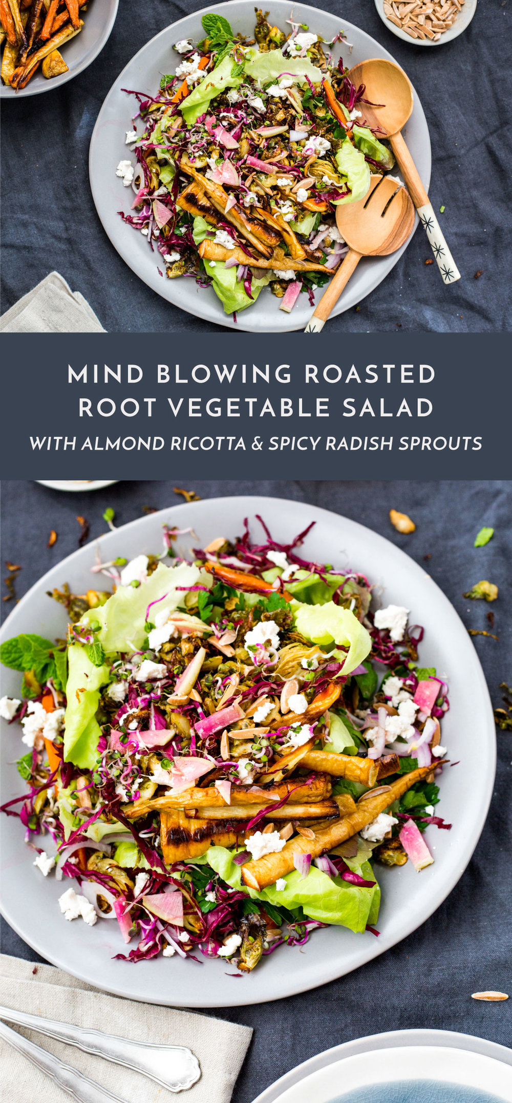 Roasted Root Veggie & Spicy Radish Salad with almond ricotta cheese | #vegan #glutenfree | #puremamas