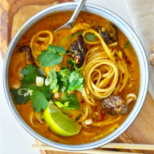 Vegetable Laksa Soup with Noodles