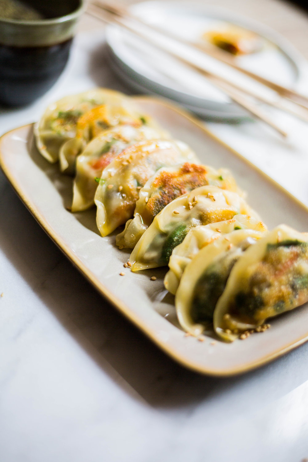 Vegetable Pot Stickers with Tamari Chili Sauce #vegan #plantbased