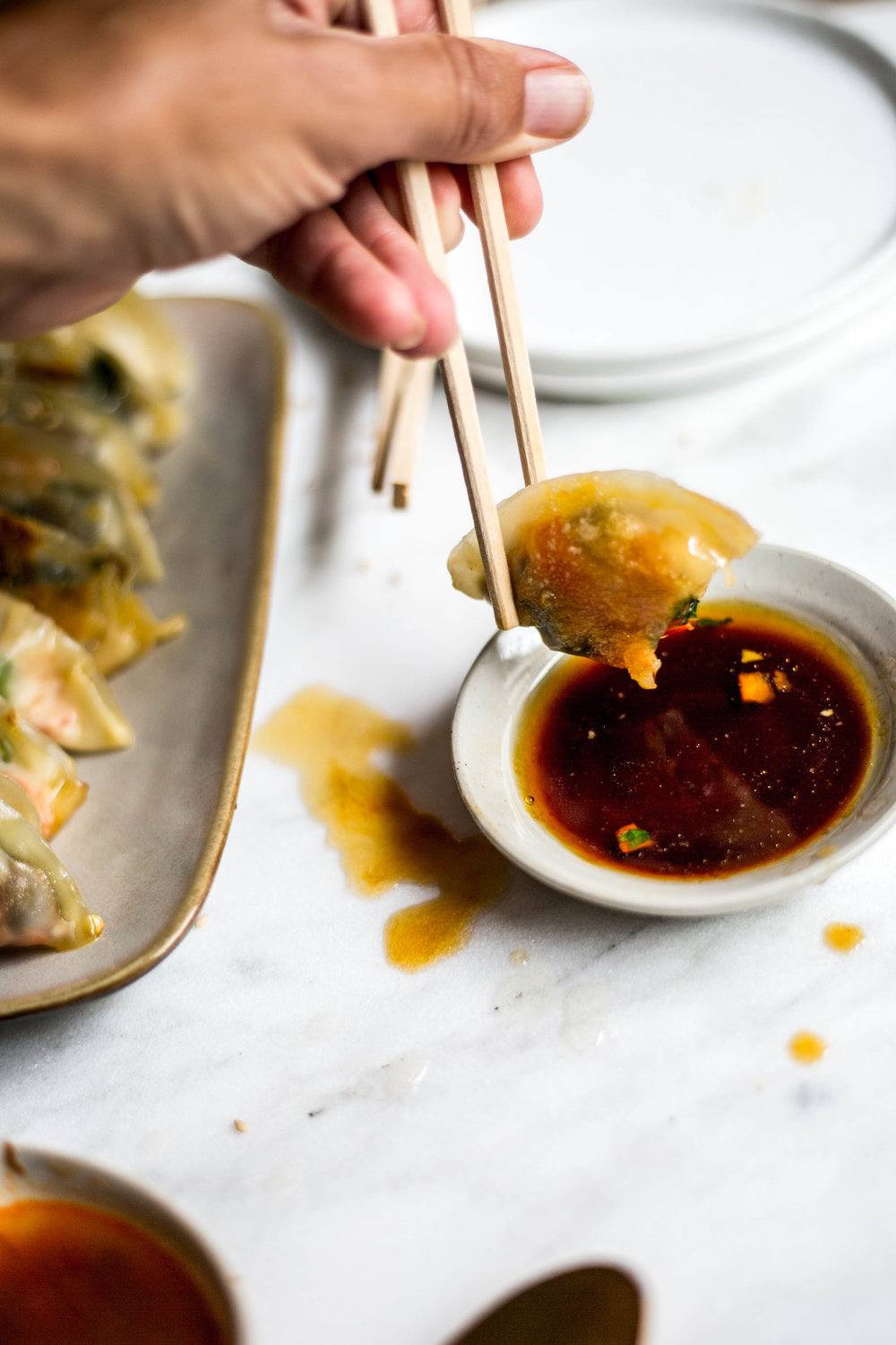 Vegetable Potstickers (mushrooms and spinach stuffed wrappers) #vegan #plant-based