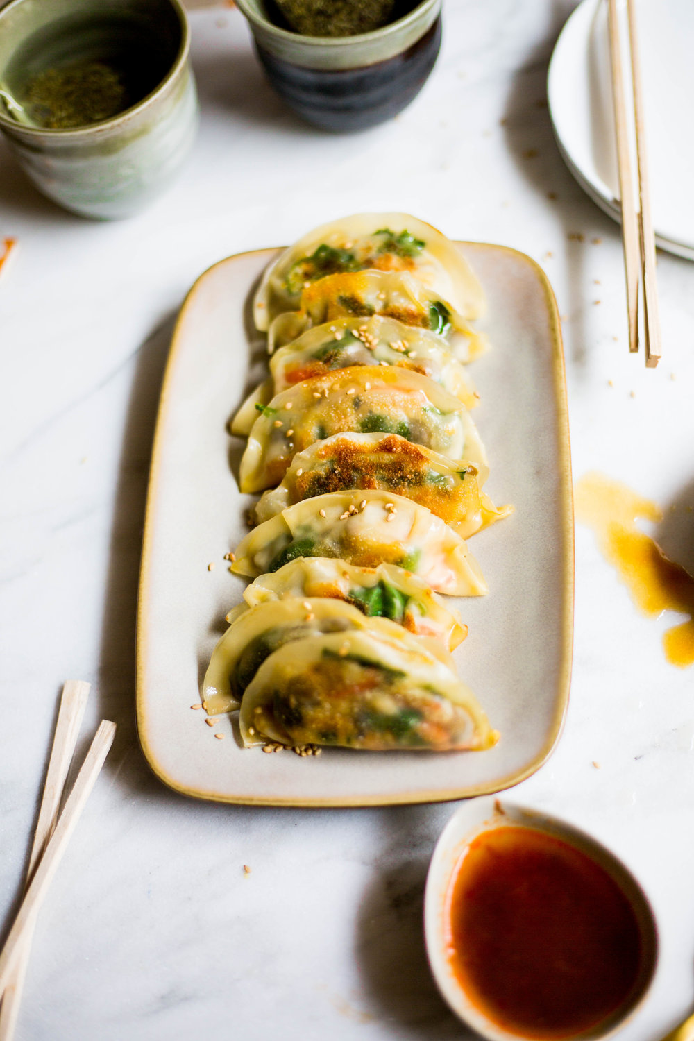 Veggie Pot Stickers with mushroom and spinach filling. #plantbased #vegan