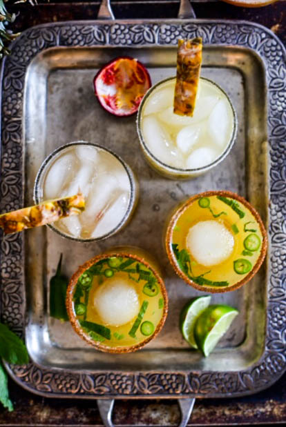 recipe alert! fresh spicy pineapple margs + passionfruit lemon margs. Plant-based #vegan recipes. #purekitchenblog