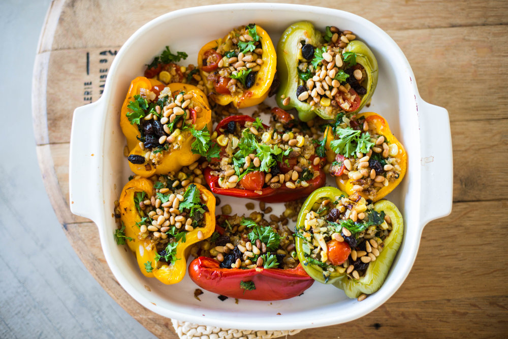 Cauliflower & Raisin Stuffed Bell Peppers