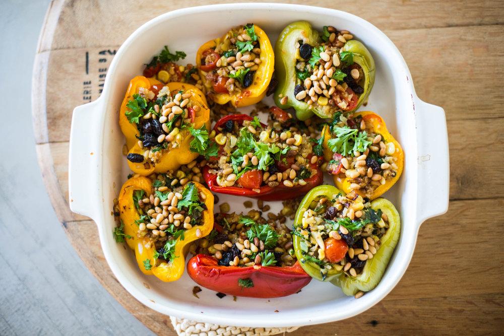 Cauliflower & Raisin Stuffed Bell Peppers