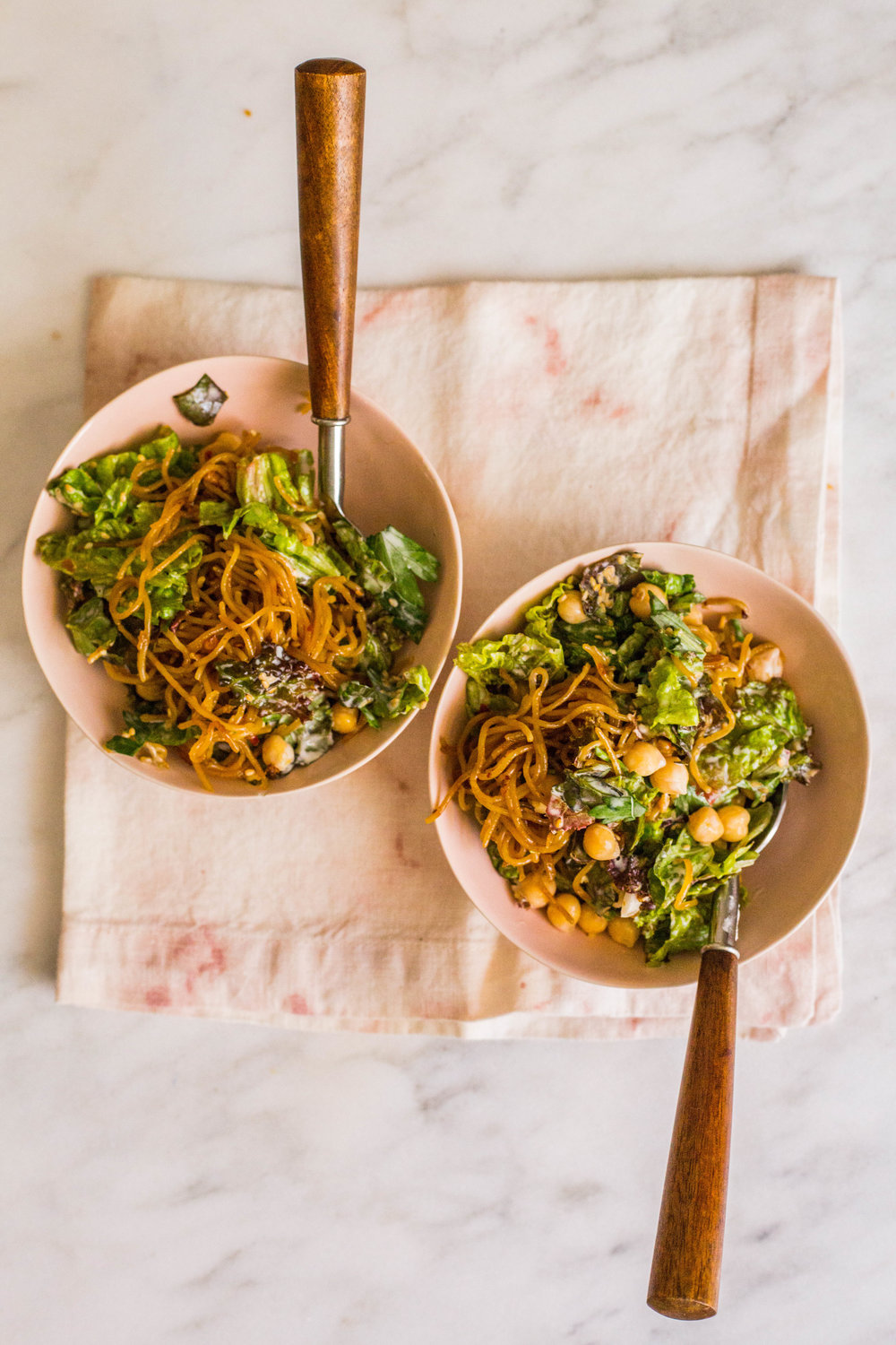 to-die-for sautéed noodles with red leaf lettuce! perfect vegan dinner for the whole family!