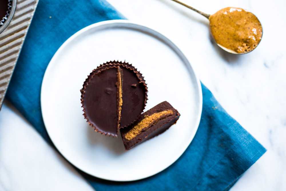 Dark Chocolate Almond Butter Cups | gluten-free Vegan