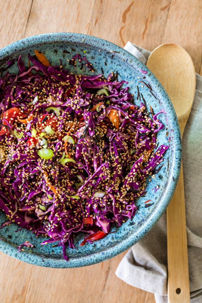 Arame Cabbage Salad | Tahini Dressing (vegan)