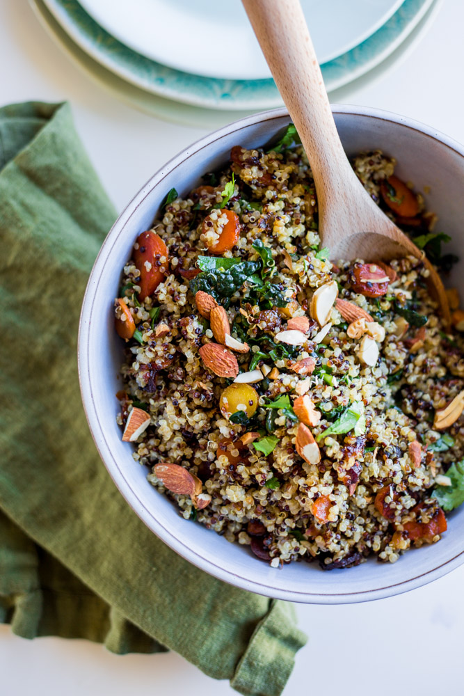 Warm Ginger Glazed Carrots Quinoa Salad #vegan #glutenfree #puremamas