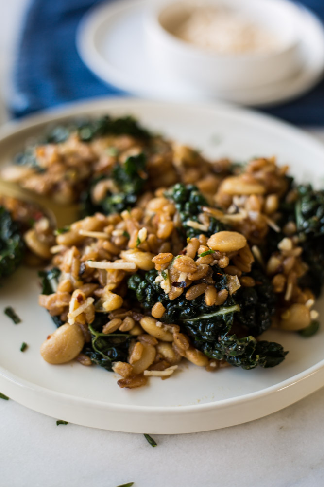 Farro & Butter Beans with Kale | #Vegan | #dairyfree