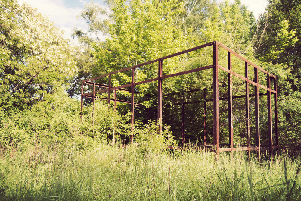 the park is dotted with corten steel sculptures and installations