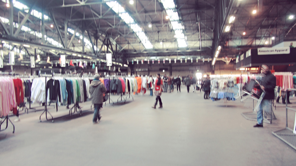 American Apparel warehouse sale. We went, we scoffed at hipsters, I took a crappy photo, and we discovered that next week there's going to be a fricken ROLLER DERBY here.