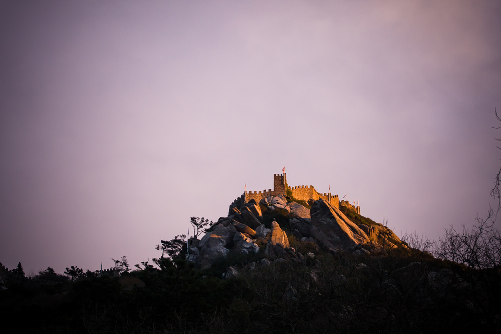 Castelo dos Mouros in the winter's evening light.