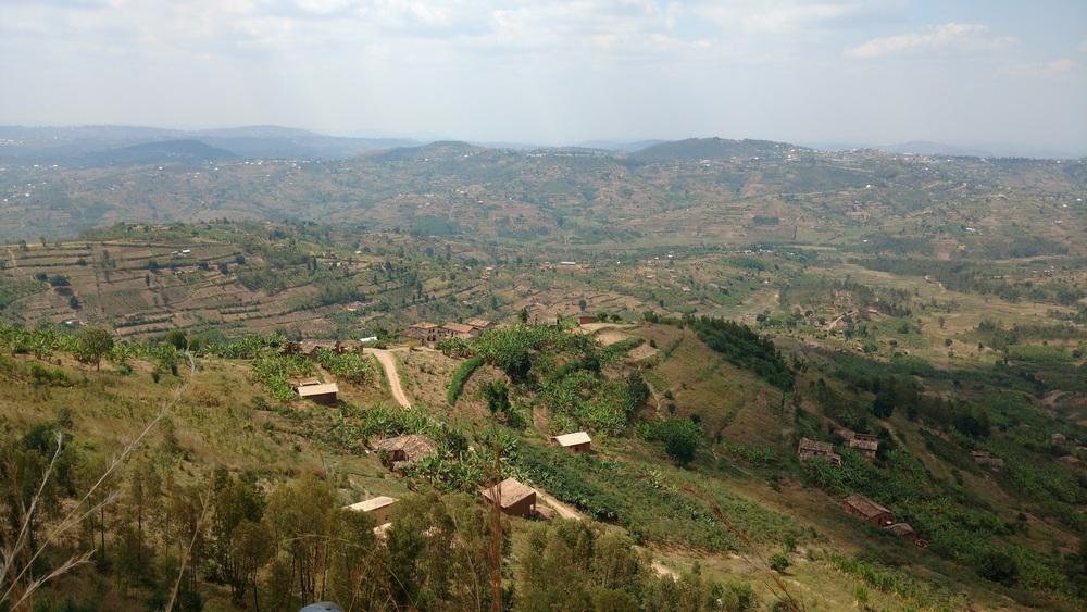 View over rural Rwanda from the climbing spot.