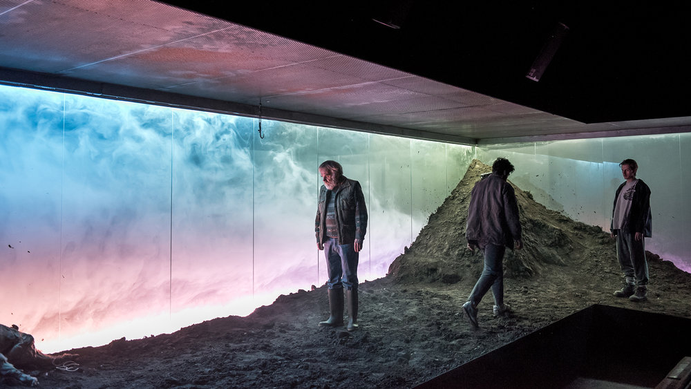 Gun Dog  / By Simon Longman  Jerwood Theatre Upstairs at the Royal Court Theatre, London  January 2018  +   Direction  Vicky Featherstone   Lighting Design  Lee Curran   Sound  Peter Rice   Music  Matthew Herbert