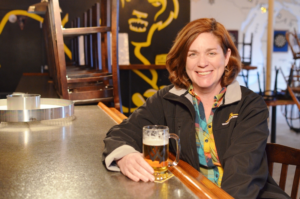 Erotic fiction author Liz Crowe at the Wolverine Brewery.