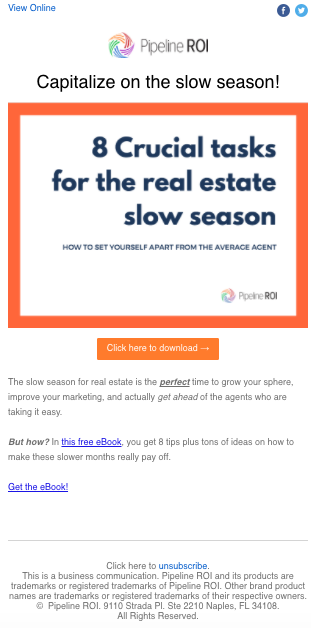 "E-mail promoting ""Slow season"" eBook offer"