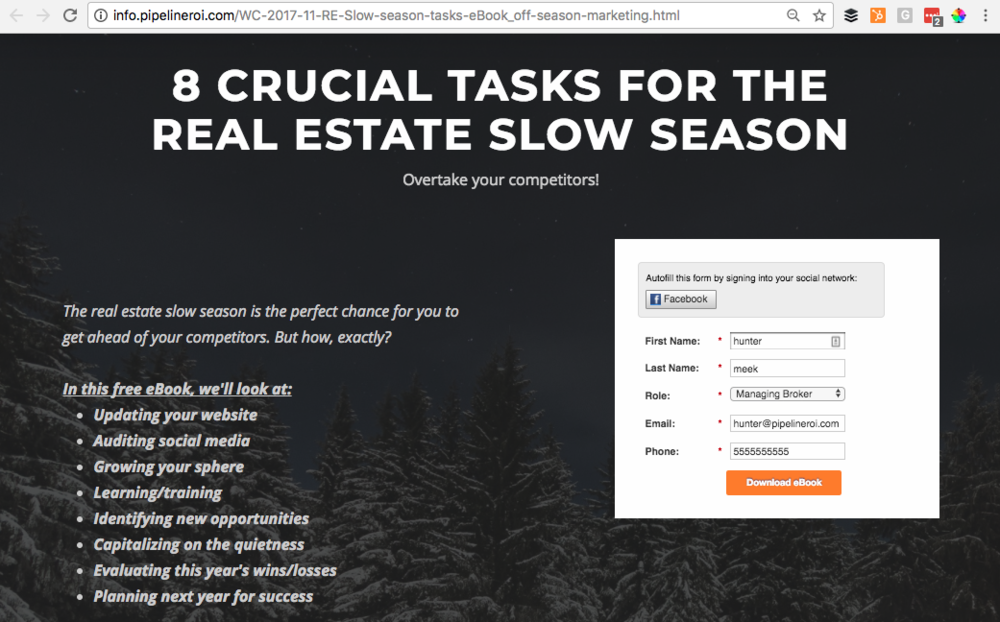 "Landing page for ""Slow season"" eBook content download"