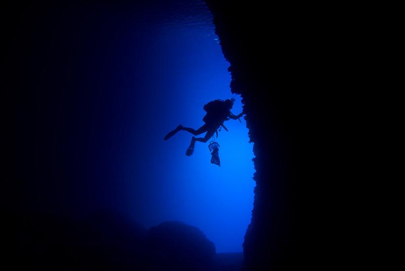 Biological sampling in a marine cave