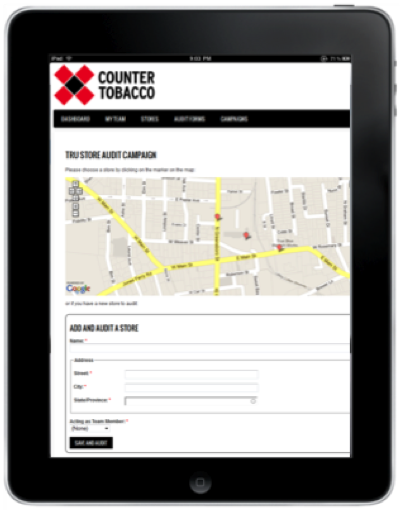 Store audit center featuring map of stores to be audited, as well as 'Add a Store' feature for use in the field.