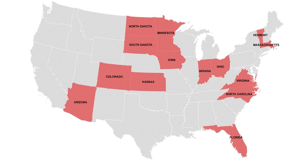 Counter Tools has past or present partnerships in the following states: Arizona, Colorado, Florida, Indiana, Iowa, Kansas, Massachusetts, Minnesota, North Carolina, North Dakota, Ohio, South Dakota, Vermont, and Virginia.
