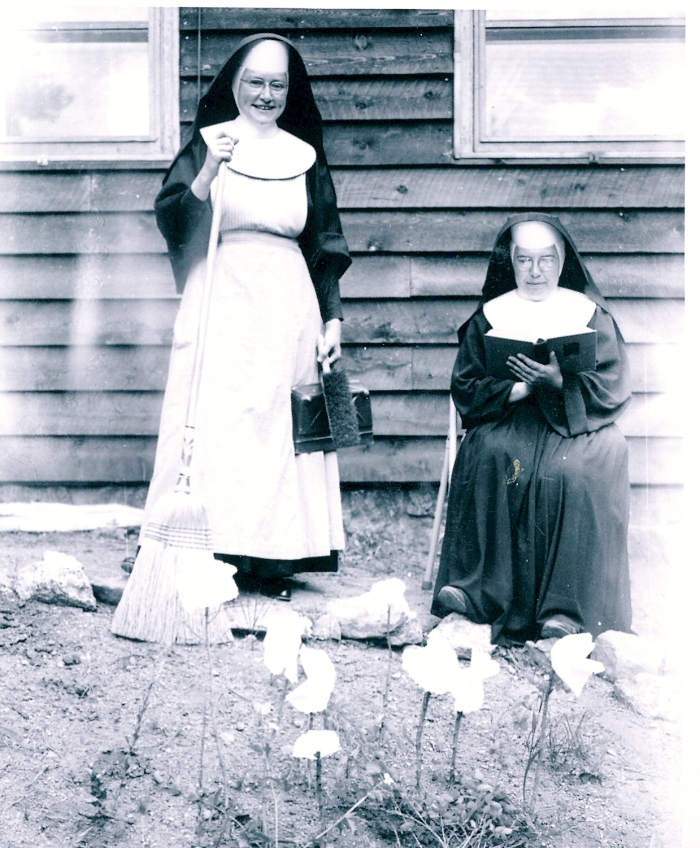 Sr. Margaret with broom