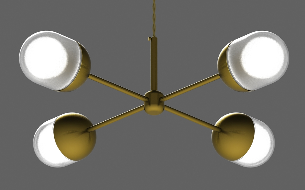 Pill X chandelier in brass